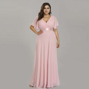 Details about Ever-pretty US Plus Size V-neck Bridesmaid Dresses Long Pink  Party Gowns 09890