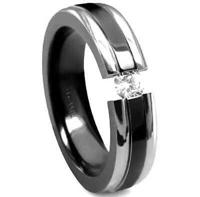TITANIUM High Polished TENSION RING with Black Plated Accent & 4mm CZ, size 9