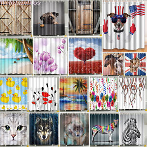 Waterproof-Fabric-Various-Pattern-amp-12-Hooks-Bathroom-Shower-Curtain-Multichoice