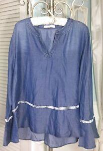 NEW-Plus-Size-2X-1X-Blue-Washed-Denim-Bell-Sleeve-Boho-Top-Shirt-Blouse