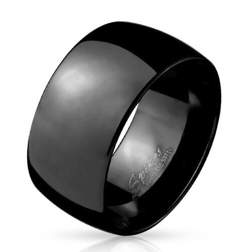 Anillo Grande Hombre Acero Inoxidable Negro Placa Domo Original 10mm nuevo 5898