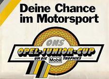 Prospekt ons Opel Junior Cup 11 84 auto folleto de Carreras Motorsport 1984 Race