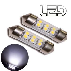 2-Birnen-Pendelverkehr-C10W-42-mm-42mm-6-LED-Weis-Xenon-Kennzeichen-Beleuchtung