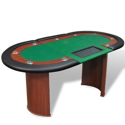 Pokertisch 10 Spieler Poker Tisch Pokertable + Chiptray Getränkehalter Grün/Blau