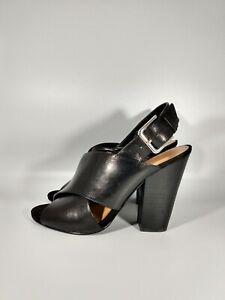 Nine-West-black-leather-chunky-heel-sling-back-shoes-size-7-5M