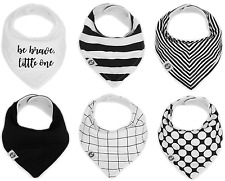 "Baby Bandana Drool Bibs for Girls 6 Pack ""Monochrome Set"" by Mumby"