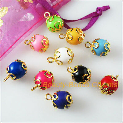 20 New Charms Mixed Acrylic UV Round Circle KC Gold Plated Pendants 12x15mm