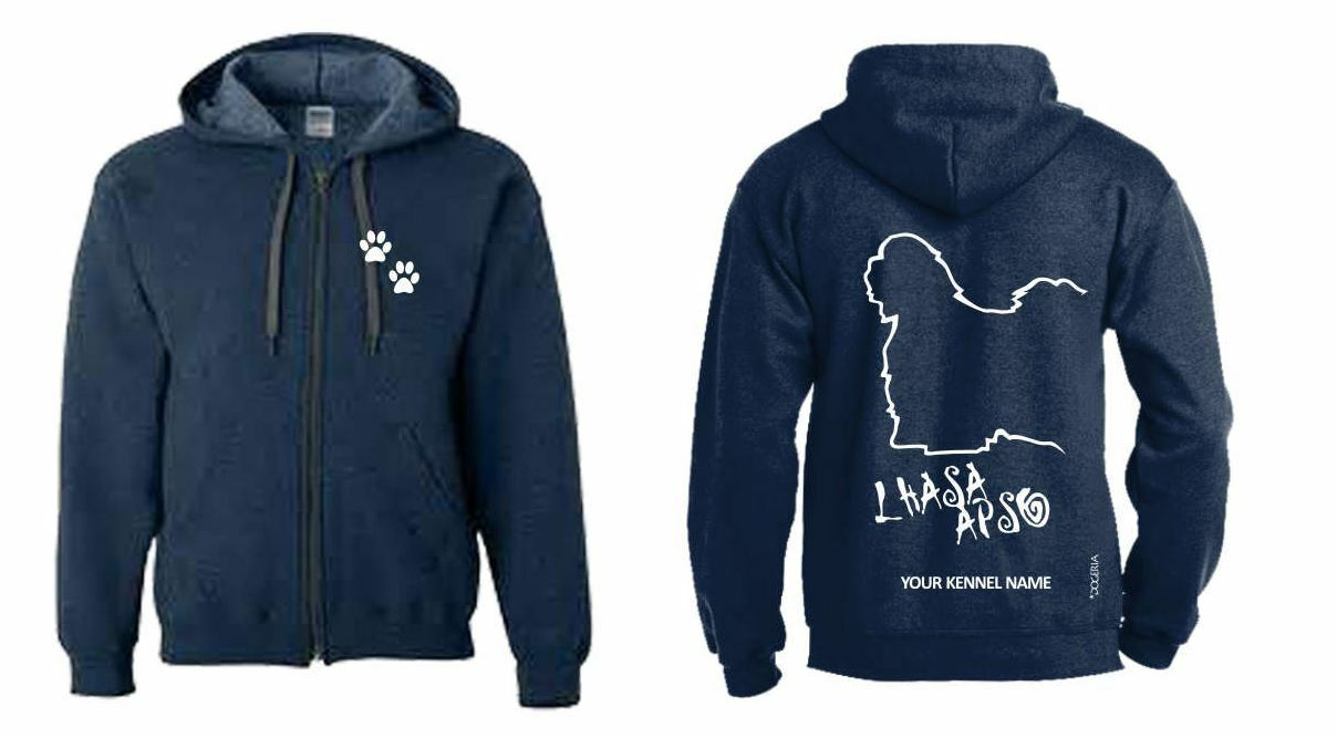 Lhaso Apso Full Zipped Zipped Zipped Dog Breed Hoodie, Exclusive Dogeria Design, 596402