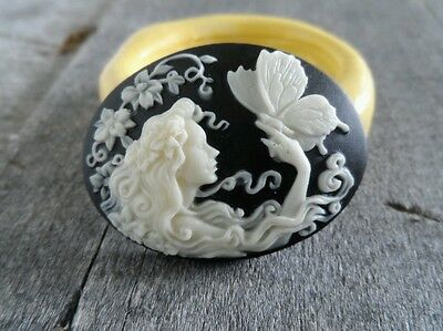 Lady and Butterfly cameo silicone push mold mould polymer clay resin Sugar Craft