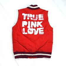NWT Victoria's Secret PINK S XS Puff Puffer Vest 86 Knit Trim Red White Navy