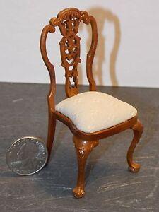 Dollhouse Miniature Bespaq Elegant Dining Chair Walnut 1:12 one inch scale D58