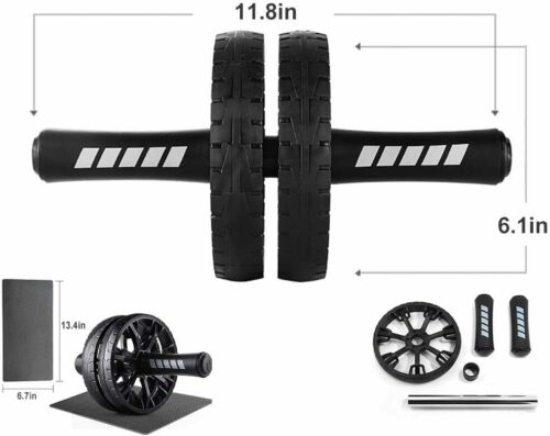 Knee Pad Ab Roller Dual Wheel Abdominal Stomach Exercise Fitness Gym Equipment