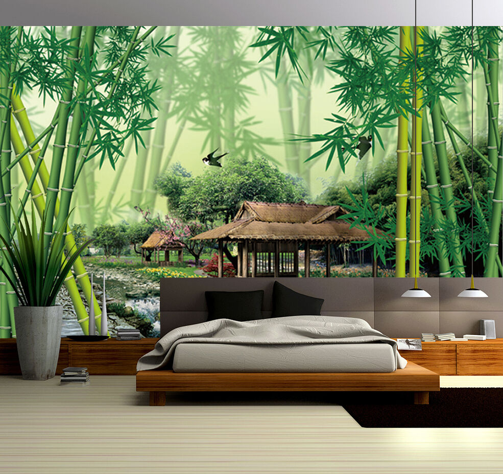 3D Bamboo Forest Pavilion 39 Paper Wall Print Wall Decal Wall Deco Indoor Murals