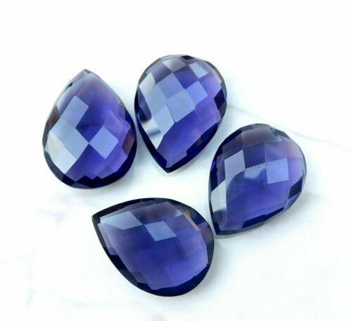 58 Cts 4 Pieces Hydro Amethyst Pear Cut Lot Loose Gemstone 16X 22  MM P-167 //1