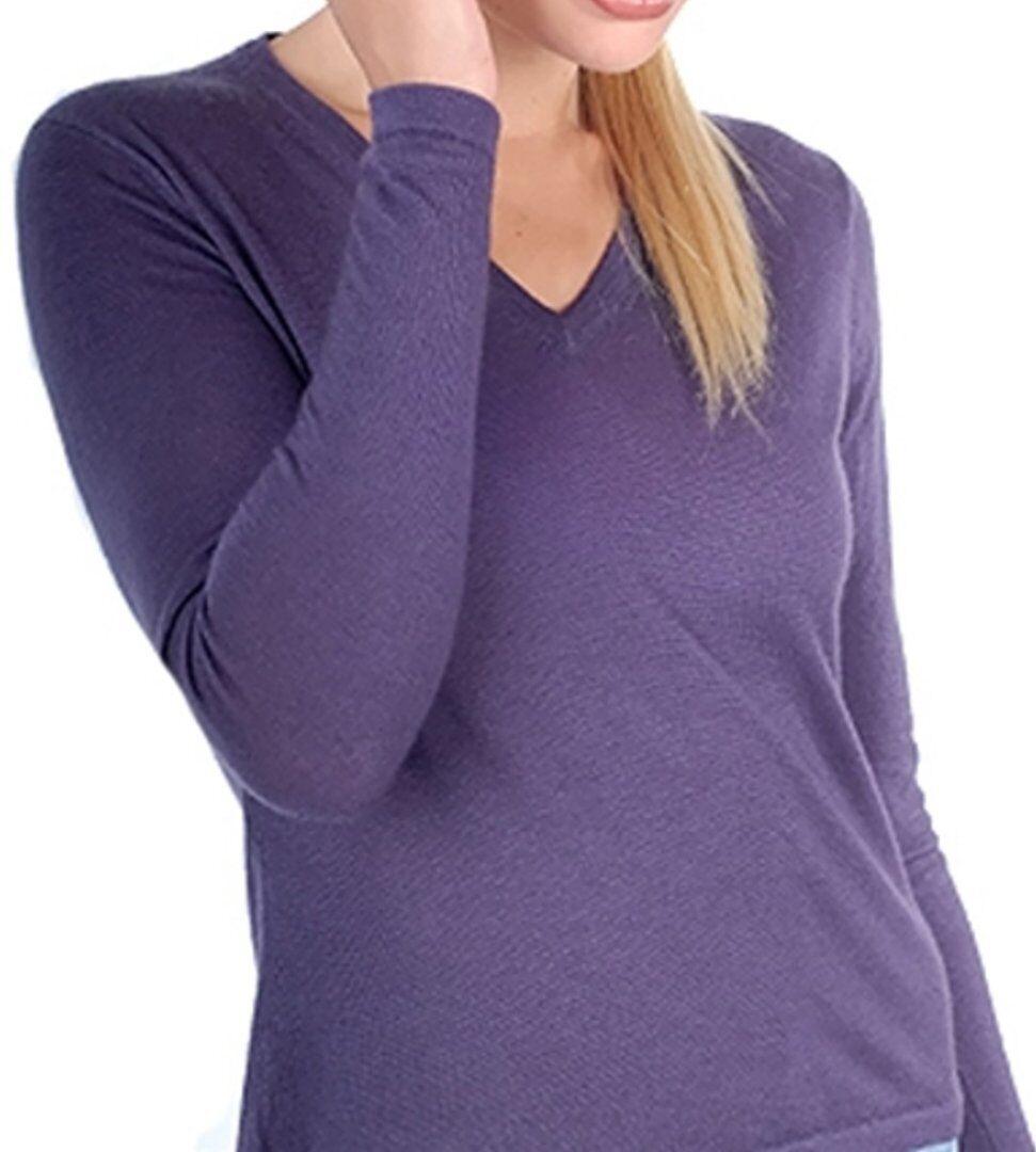 Balldiri 100% Cashmere Duvet Damen Pullover V-Ausschnitt 2-fädig brombeere XL