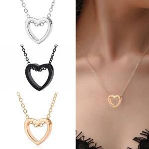 Frauen-Maedchen-Herz-Charme-Halsketten-Anhaenger-Halsketten-Edelstahl-Schmuck