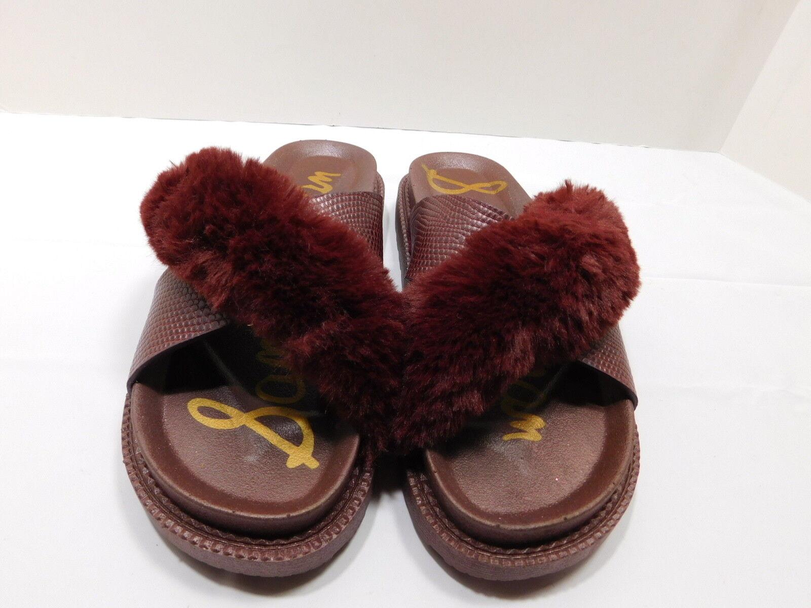New  Sam Edelman Burgundy Faux Fur & Textured Leather  Slides.....7 M  37 EUR
