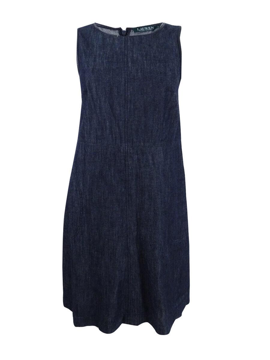 Lauren Ralph Lauren Woherren Faux-Leather-Trimmed Denim Dress 2P, Mineral Blau