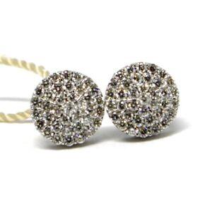 Boucles-D-039-Oreilles-or-Blanc-750-18K-Diamants-Carat-0-50-Bouton-Rond-Pave