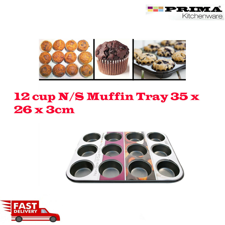 12 DEEP CUP MINI Muffin Tin Non Stick Pan Tray Mould Bake Cupcake Tray 15185c