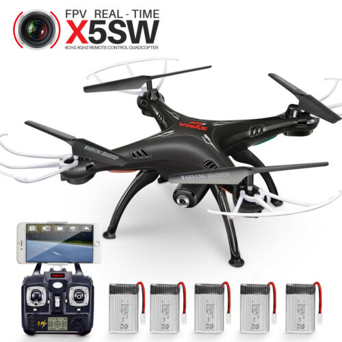 Syma X5SW WIFI FPV 2.4Ghz 6Axis RC Quadcopter Drone Camera HD Black 5 Battery