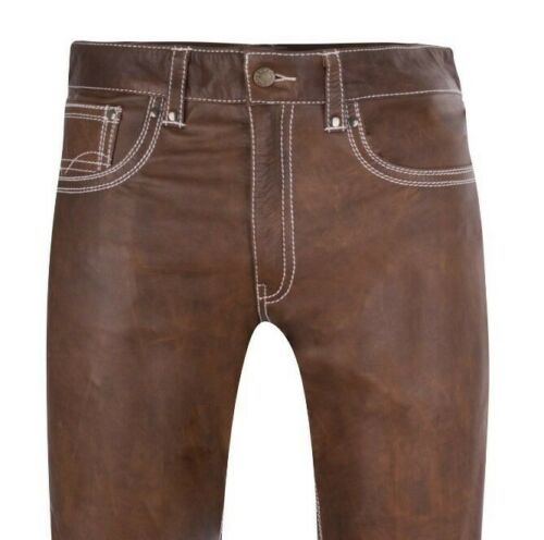 mens leather jeans brown white stitchings leather pants new trousers Lederhose