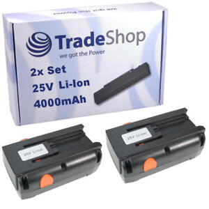 2x akku 25v 4000mah li ion f r gardena spindelm her 380c ersetzt 04025 20 ebay. Black Bedroom Furniture Sets. Home Design Ideas