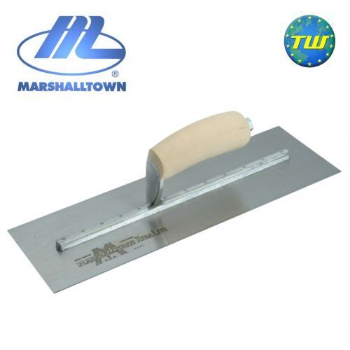 Marshalltown 18  x 4 1 2  Cement Trowel with Wooden Handle Steel Blade MXS77