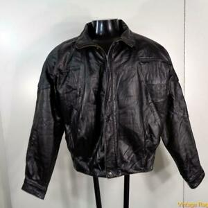 BYRNES-amp-BAKER-Soft-LEATHER-JACKET-Mens-Size-M-Black-insulated-zippered-w-liner