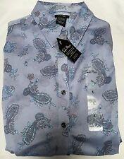 Taylor Marcs Periwinkle Blue Paisley Print Button Down Shirt Size L NWT