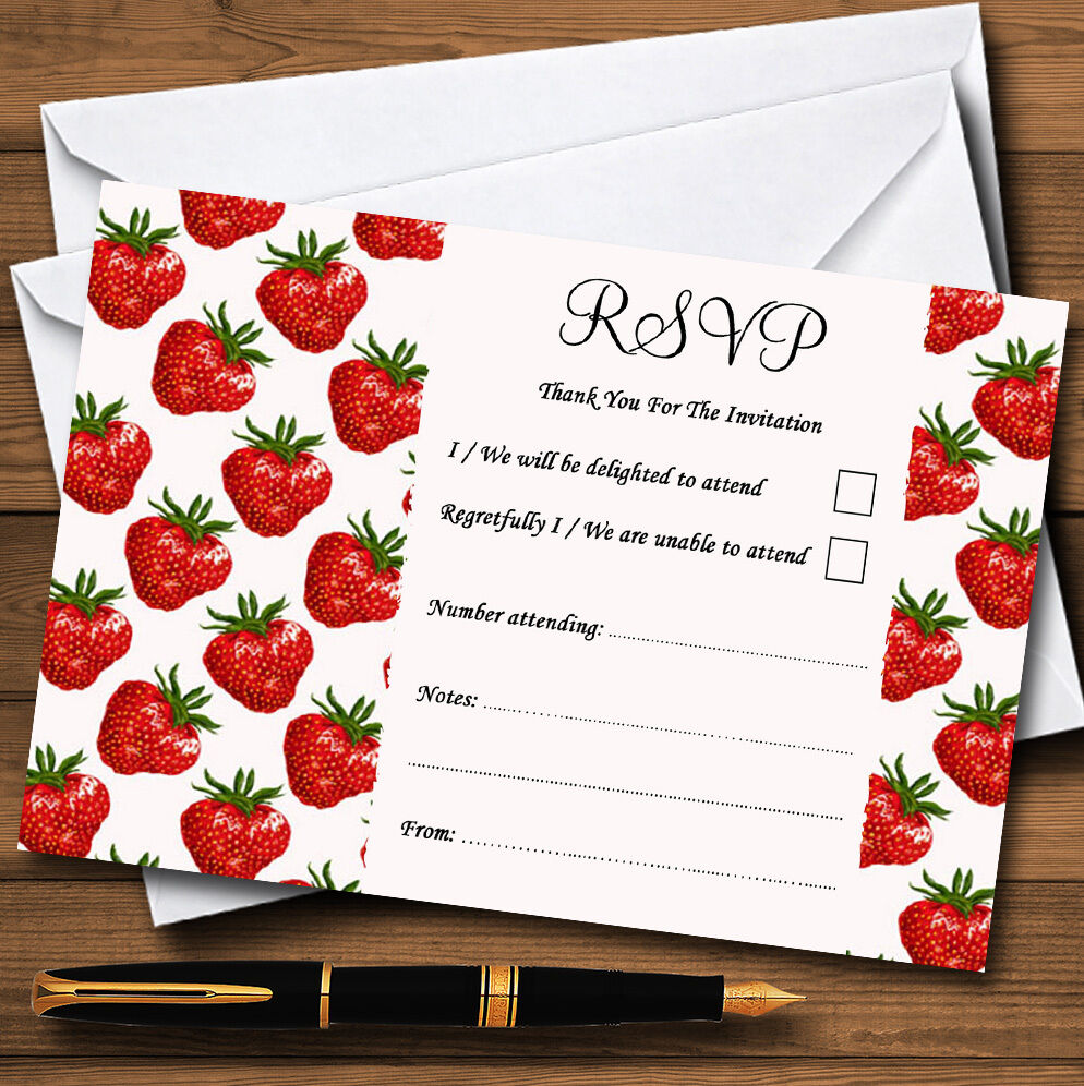 Thé vintage RSVP fraise rouge personnalisé mariage ou fête RSVP vintage cartes 5d3dfc