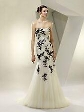 Enzoani Beautiful BT14-22 wedding dress ivory/black size 8-10 with handmade veil