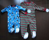 Macy's Family Pj's Kids Christmas Fleece Holiday Footed Jumpsuits 12m/ 2-3t/ 8