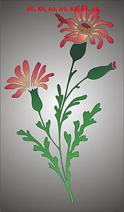 Red-Campion-Wild-Flower-Stencil-350-micron-Mylar-not-thin-stuff-FL010