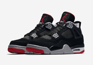 separation shoes d7fc6 f4ae6 Details about NEW 2019 AIR JORDAN 4 RETRO OG BRED BLACK/CEMENT  GREY-WHITE-FIRE RED 308497-060