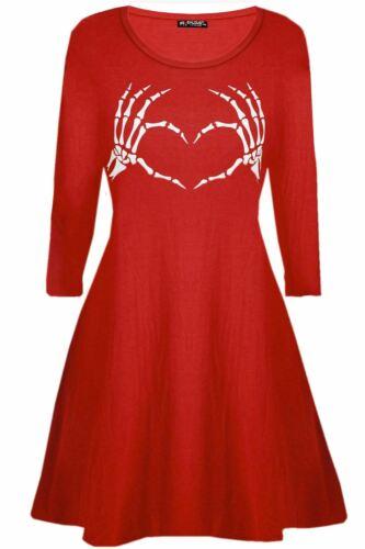 Women Halloween Skeleton Heart Costume Vampire Horror Blood Ladies Swing Dress