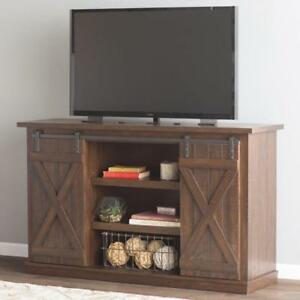 Details About Espresso Rustic Tv Stand Wood Sliding Barn Door Media Console Cabinet Farmhouse