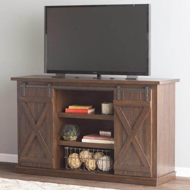 Espresso Rustic Tv Stand Wood Sliding Barn Door Media Console Cabinet Farmhouse