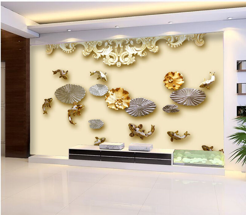 3D Lotus,Poissons Photo Papier Peint en Autocollant Murale Plafond Chambre Art