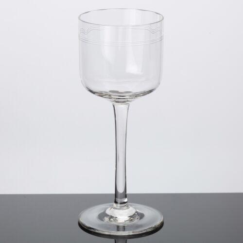Jugendstil Weinglas Weißweinglas klar Ringe Kreise Band Gravur Schliff  ~ 1910