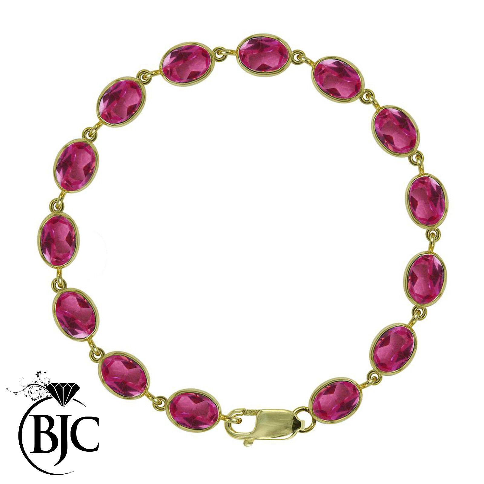 BJC® 9ct Yellow gold Natural Pink Topaz 21.00ct Oval Gemstone Tennis Bracelet