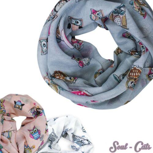 Ein Kinder Loopschal Tuch Eulen grau rosa weiß