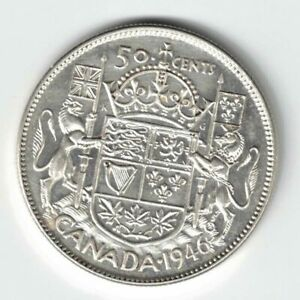 CANADA-1946-50-CENTS-HALF-DOLLAR-KING-GEORGE-VI-CANADIAN-800-SILVER-COIN