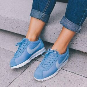 176adf6a893 New Nike Classic Cortez Nylon White Sky Blue Trainers Men Women ...