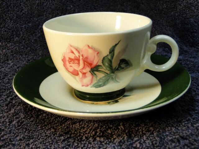 Taylor Smith Taylor Pink Rose Green Band Tea Cup Saucer 50's Vintage Crazing