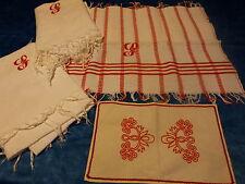 3anciennes serviettes ,brodées mono S rouge,franges ans 1920-30 napperon offeRT