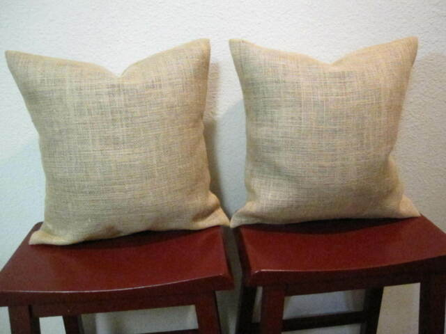 Set Of 2 20x20 Burlap Throw Pillow Cushion Covers Country Rustic Decor