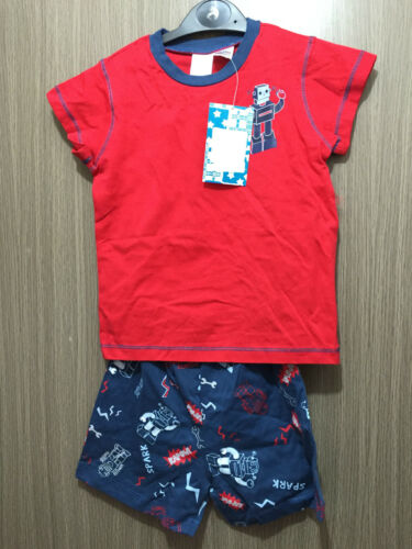 BNWT Boys Age 7 to 8 Years Soft Stretch Knit Robot Short Summer PJ Pyjamas