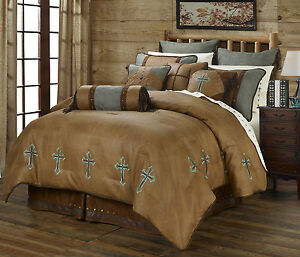Image Is Loading Turquoise Cross Western 5 Piece Super King Size
