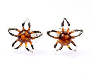 SilverAmber-Jewellery-Earings-GL075-925-Sterling-Silver-Cognac-Amber-Stones